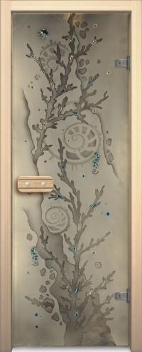 Двери для сауны Арт серия с фьюзингом коралл