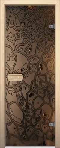 Двери для сауны Арт серия с фьюзингом Панцирь