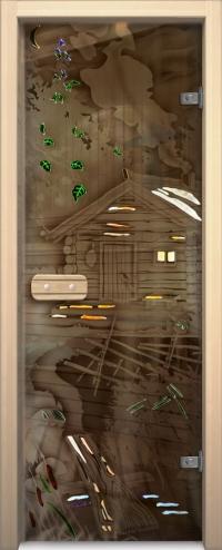 Двери для сауны Арт серия с фьюзингом пейзаж