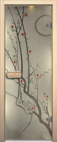 Двери для сауны Арт серия с фьюзингом сакура