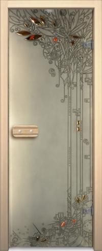 Двери для сауны Арт серия с фьюзингом весна