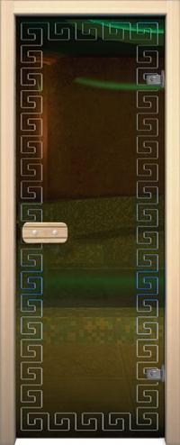 Двери для сауны Арт с гравировкой Меандр