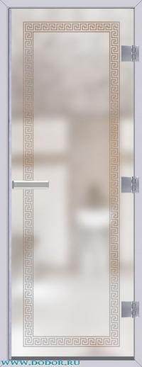Дверь для сауны Хамам 60G бесцветная матовая меандр