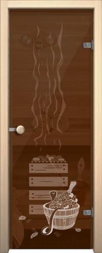 Стеклянная дверь для сауны АКМА light Банька Ручка кноб-магнит