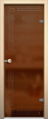 Стеклянная дверь для сауны АКМА light бронза София Ручка кноб-магнит Хром