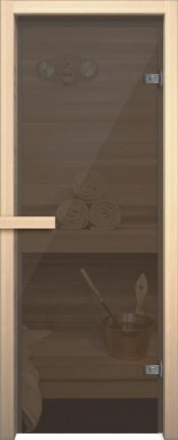 Стеклянная дверь для сауны АКМА light серое Магнитная ручка