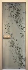 Двери для сауны Арт серия с фьюзингом березка