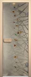 Двери для сауны Арт серия с фьюзингом лёд
