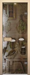 Двери для сауны Арт серия с фьюзингом предбанник